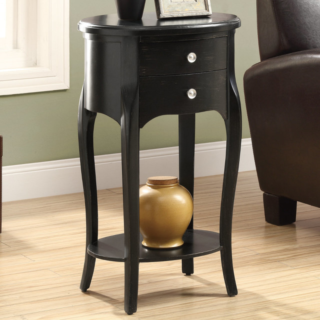 Antique black veneer 29in h accent table with 2 drawers for Black side table with drawer