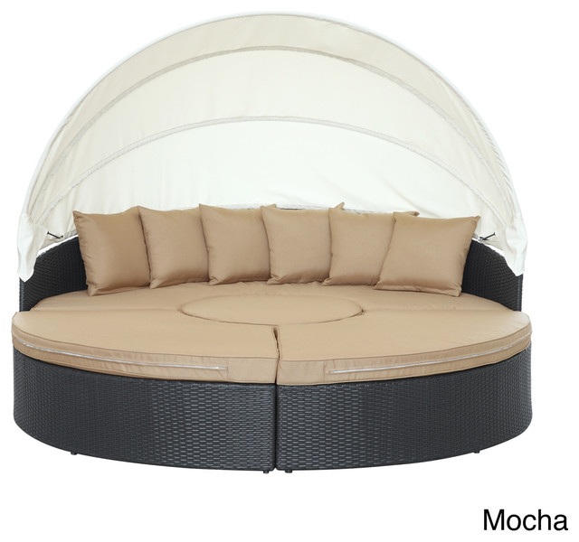 Quest Circular Outdoor Wicker Rattan Patio Daybed With Canopy Contemporary