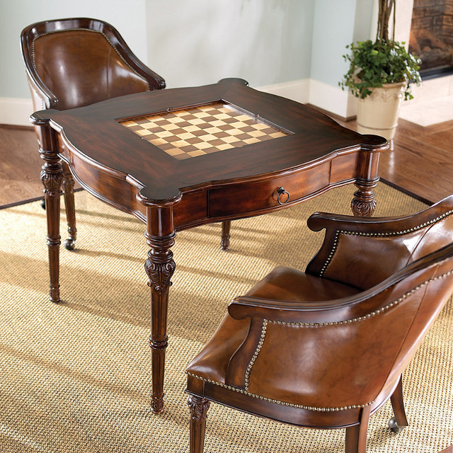 Freeman Game Table And Two Leather Chairs