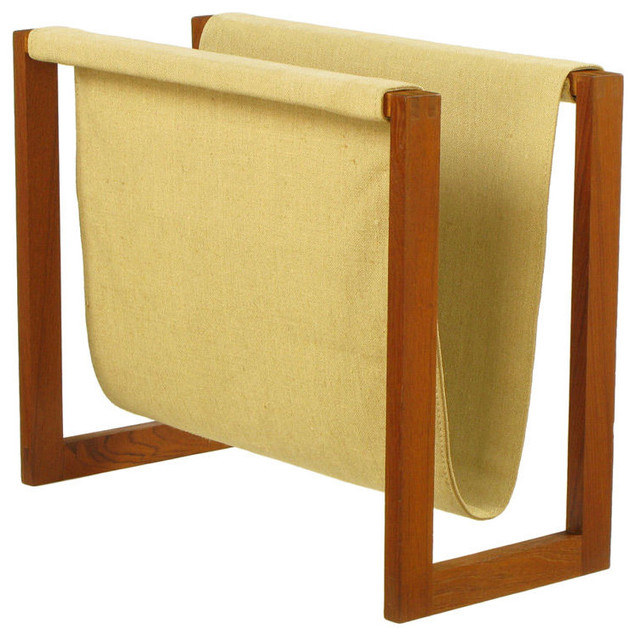Teak & Canvas Magazine Rack contemporary-magazine-racks