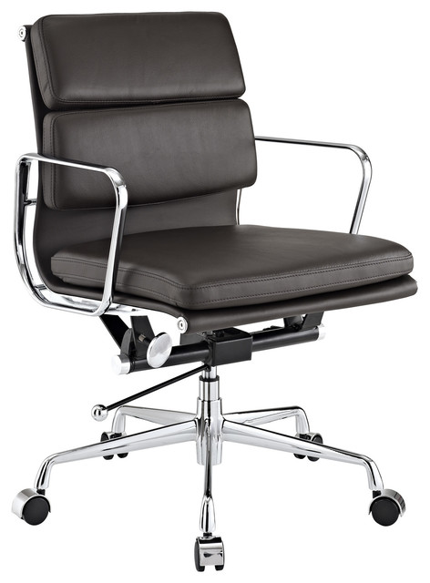mid back brown genuine leather conference office chair