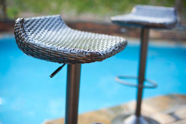 Portofino Woven 3pc Bistro Bar Set Stools Contemporary