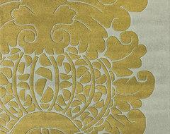 Handmade Alexa Modern Damask Wool Rug contemporary-rugs
