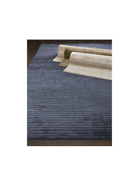 "Exquisite Rugs - Exquisite Rugs ""Glistening Ridge"" Rug - Elegant in its simplicity, this stunning rug features raised bars for texture, a silky sheen to capture the light, and an array of colors, making it a feast for the eyes as well as the feet. Hand-loomed viscose pile. Select color when ordering. Sizes..."
