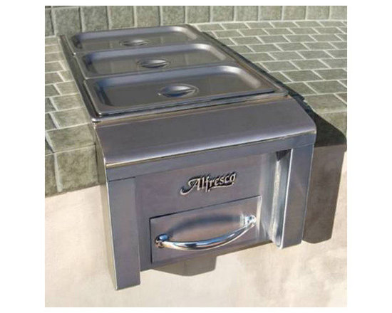 """Alfresco 14"""" Cart Mount Food Warmer, Stainless Steel 