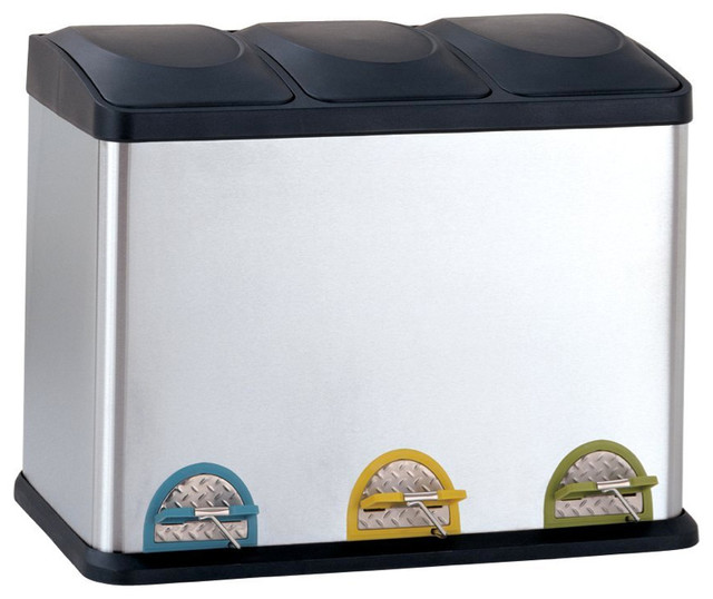 Three-Compartment Step-On Recycling Bin, 11.8 Gallons ...