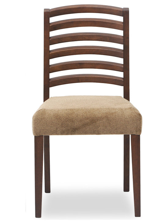 Bryght - Janet Fabric Upholstered Dining Chair - The Janet dining chair gives a classic twist to a modern design, with its curved wooden frame and luxuriant upholstery. Carefully crafted slanted ladderback and a tilted seat keeps you sitting comfortably on the Janet dining chair for as long as you like.