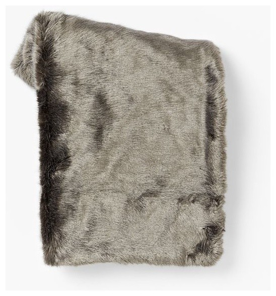 Faux Fur Throw, Pewter traditional-throws
