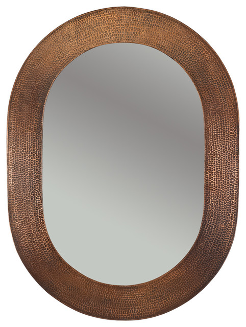 Hammered Oval Copper Mirror Rustic Bathroom Mirrors