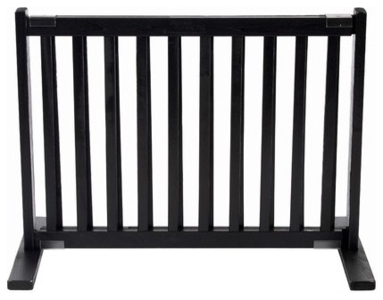 "20"" All Wood Small Free Standing Pet Gate in Black modern-pet-supplies"