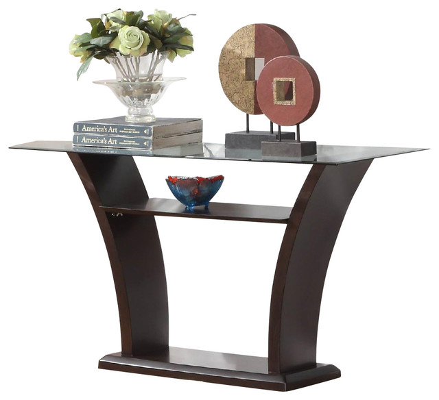 Homelegance Daisy Glass Top Sofa Table In Espresso