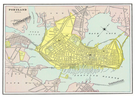 1870 Portland, Maine Street Map Vintage by The Map Shop traditional-artwork