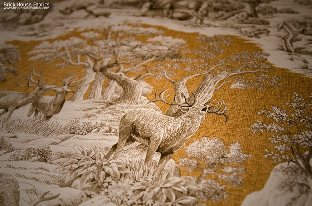 ... fabric gold toile nature woodland cabin lodge rustic-upholstery-fabric