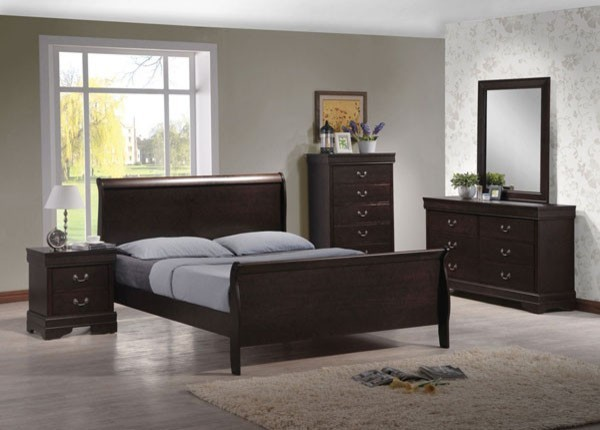 dark brown 5 piece king sleigh bedroom set contemporary bedroom