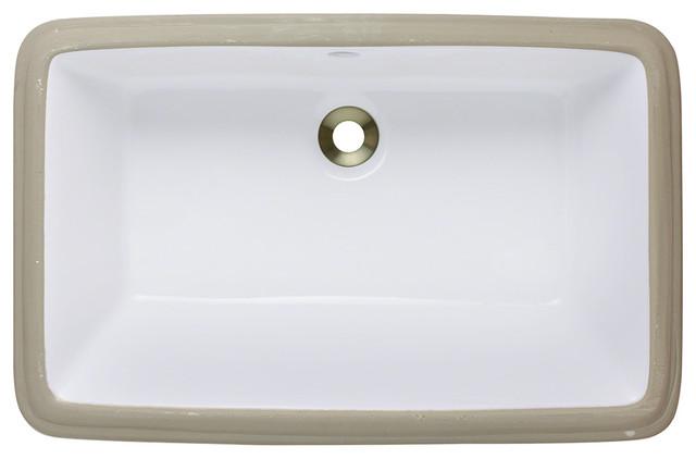 MR Direct u1812 Porcelain Bathroom sink, White, Brushed Nickel, Drain modern-bathroom-sinks