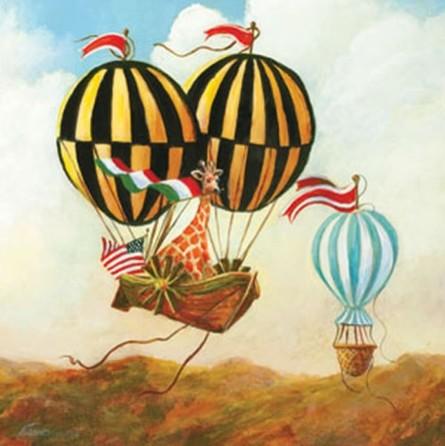 Antique Balloon Giraffe Canvas Reproduction by Oopsy Daisy contemporary-artwork