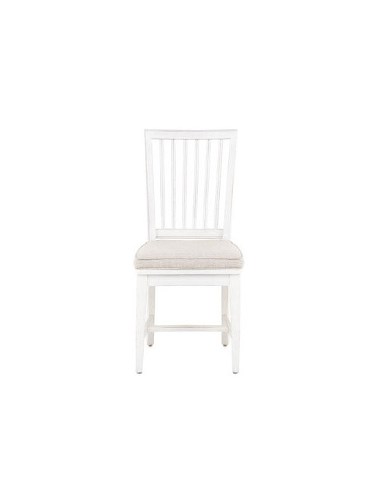 """Horchow - Two Harper Side Chairs - Side chairs with wood saddle seats have removable linen cushions. Made of oak. Sold in pairs. Each, 19""""W x 22""""D x 40""""T. Boxed weight, approximately 24 lbs. Imported."""
