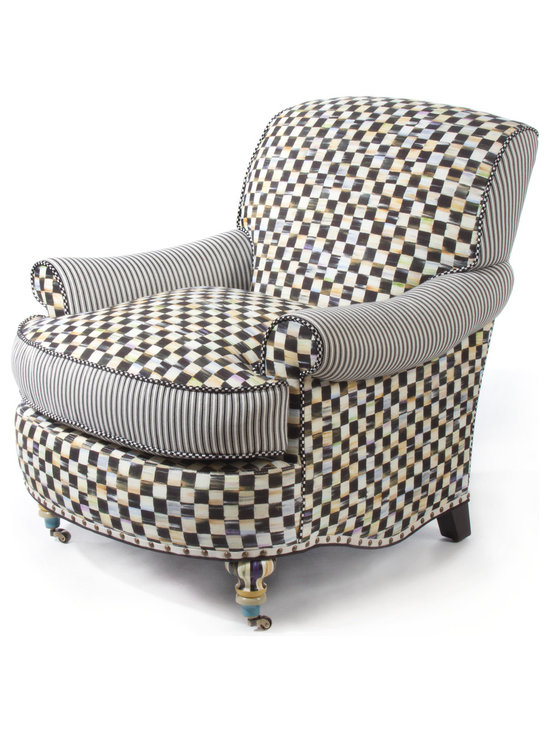 Courtly Check Underpinnings Club Chair | MacKenzie-Childs - Our signature color-dragged checks blend with straightforward, buttoned-up ticking stripes in the Underpinnings Furniture Collection. The rounded shape and generous padding of the Club Chair give it a delicious, indulgent, sink-into-it quality.