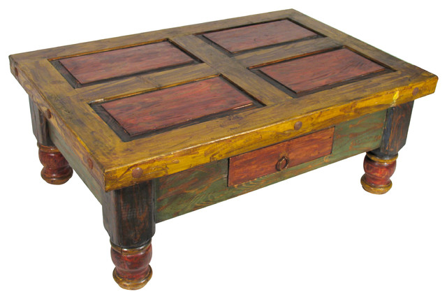 Old mexico painted coffee table coffee tables other for Mexican style coffee table