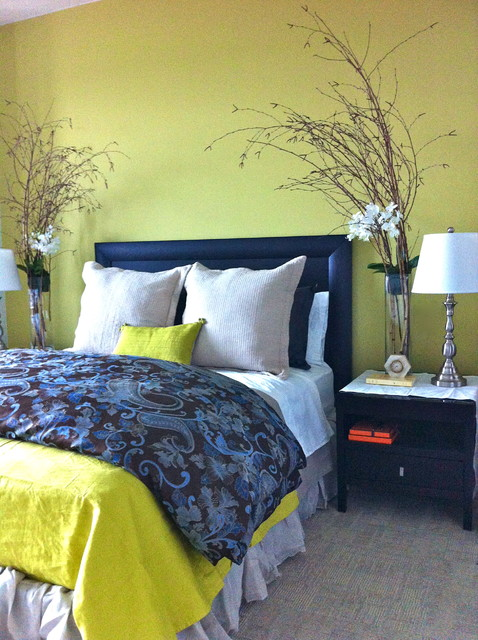 Chartreuse And Blue Bedroom Contemporary Bedroom