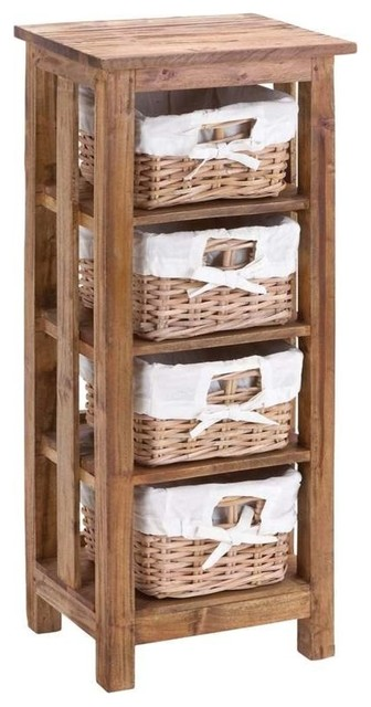 Mahogany Wooden Rattan Basket with 3 Shelves and Storage ...