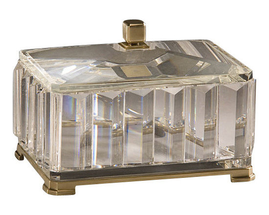 """Inviting Home - Rectangular Solid Crystal Box - rectangular solid crystal box with antique solid brass accents; 9-3/4""""W x 7""""D x 6""""H; Rectangular solid crystal box with solid crystal lid. Crystal box has an antique solid brass base and finial."""