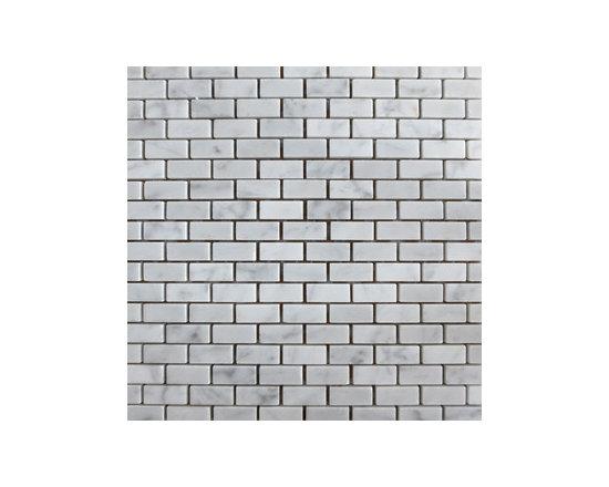 """1""""x2"""" Blanco Carrara Bricked Natural Stone Mosaic -"""