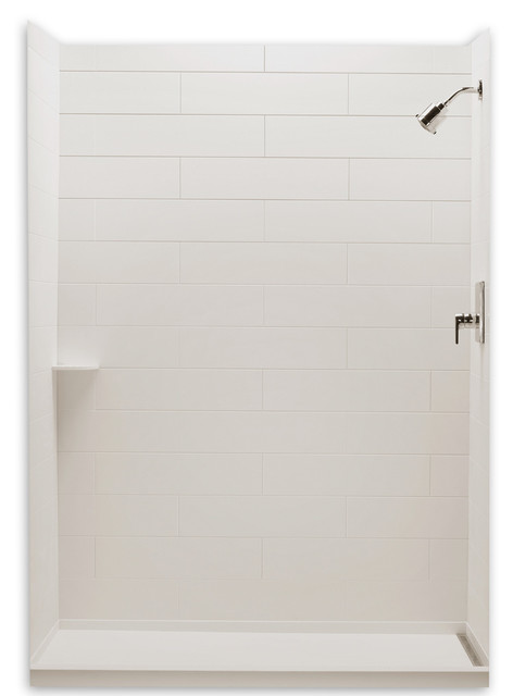 Ciencia Solid Surface Tub Shower Subway Tile Wall Set