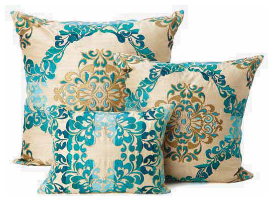 kim seybert teal brocade throw pillows decorative