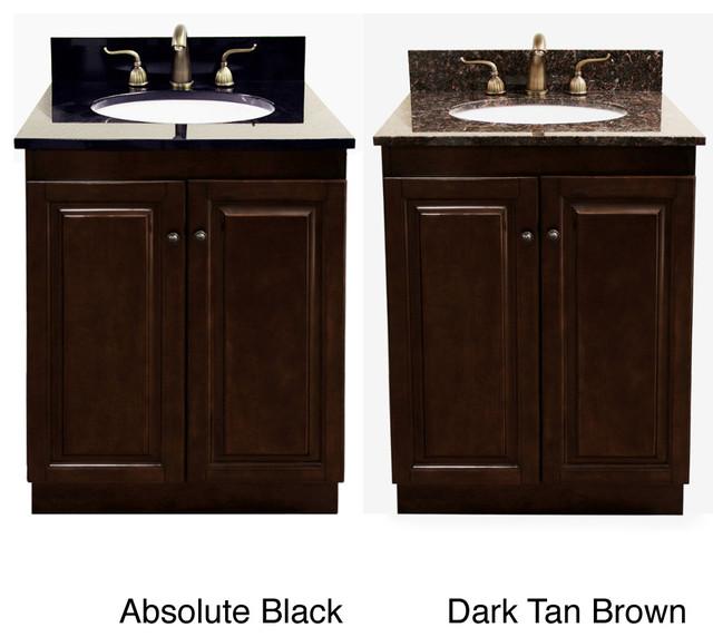 Dark Walnut Natural Granite Top 24 Inch Single Sink Bathroom Vanity Contem