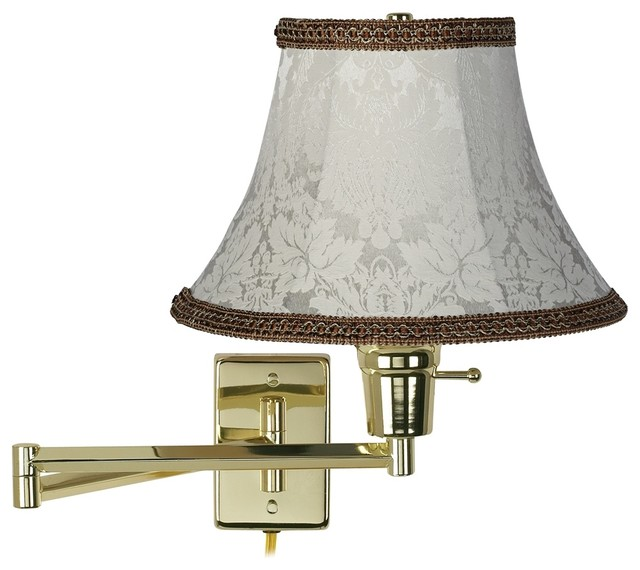 Traditional Wall Lamp Shades : Traditional Ivory Jacquard Shade Polished Brass Plug-In Swing Arm Wall Lamp - Traditional ...