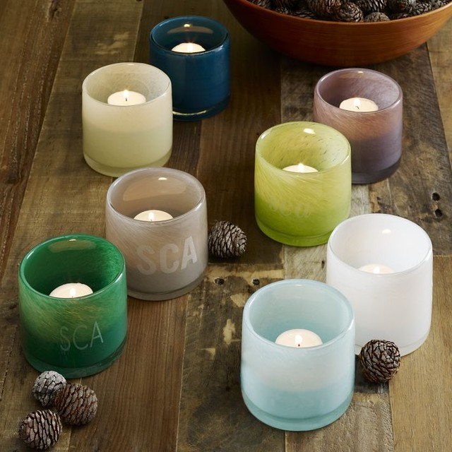 Colored Glass Tealight Holders Modern By West Elm