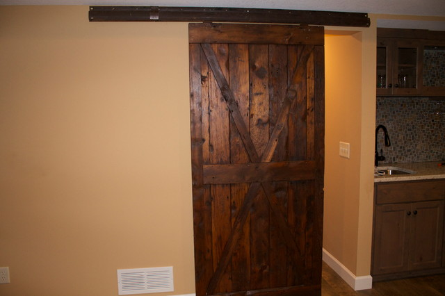 sliding barn door on original rail country basement minneapolis