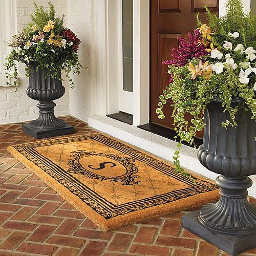 Large tuscany urn with free self watering liner for Outdoor entryway decorating ideas