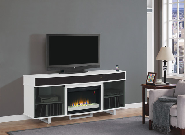 Enterprise Electric Fireplace Entertainment In White 26mms9626 Nw145 Modern Indoor