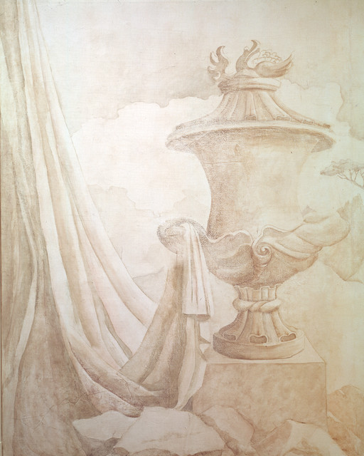 Grisaille urn wallpaper boston by zo design murals - Grisaille wallpaper ...