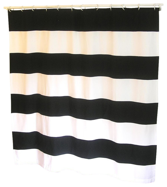 Organic Extra Long Stripe Shower Curtain Black And White 72x96 Transitional Shower Curtains