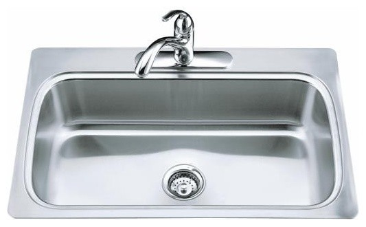 ... Basin Self-Rimming Kitchen Sink with Four-Hole F traditional-kitchen