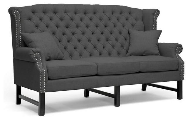 Baxton studio sussex dark gray linen sofa traditional for Grey traditional sofa