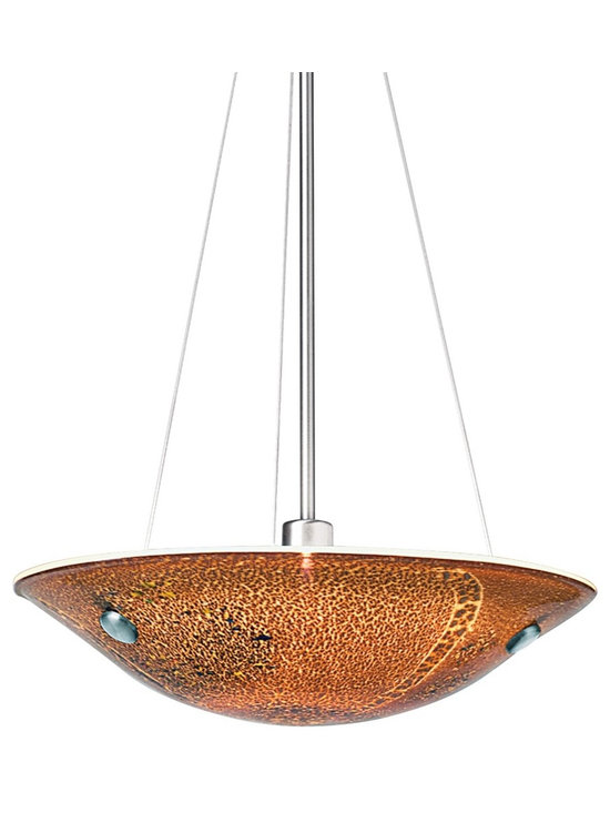 "LBL Lighting - LBL Veneto Collection 16 1/2"" Wide Mocha Glass Pendant - Complemented by a smooth bronze finish this sophisticated luminaire adds warmth and character to modern interiors. Balancing contemporary lines with artisanal flair this captivating mocha glass suspension fixture features exquisite frit patterns and hand-inlaid silver flakes. The Veneto suspension fixtures hanging length is field adjustable; includes 24- and 12-inch stems. Veneto Collection suspension fixture. By LBL Lighting. Mocha colored Murano glass shade. Bronze finish. Includes one 150 watt halogen bulb. Includes one additional 24"" and 12"" stem. 67"" maximum height. 16 1/2"" wide. Glass is 3 9/10"" high and 16 1/2"" wide.         Veneto Collection suspension fixture.  By LBL Lighting.  Mocha colored Murano glass shade.  Bronze finish.  Includes one 150 watt halogen bulb.  Includes one additional 24"" and 12"" stem.  67"" maximum height.  16 1/2"" wide.  Glass is 3 9/10"" high and 16 1/2"" wide."