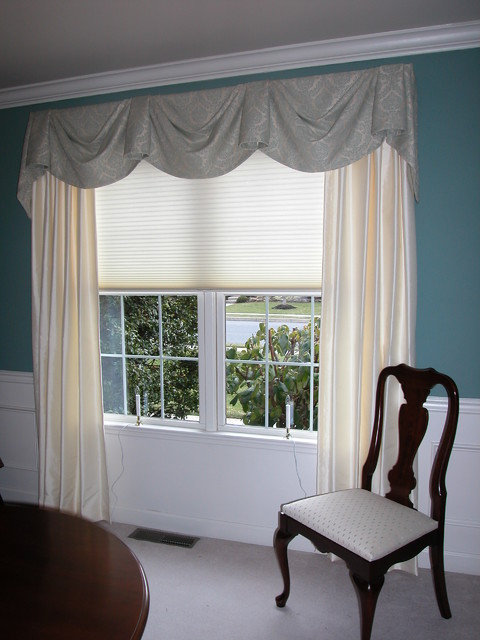 Elegant dining room window treatments philadelphia for Dining room window designs
