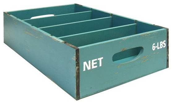 Blue Slotted Crate traditional-storage-boxes