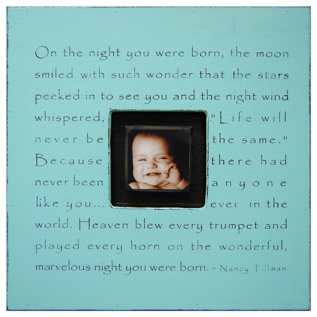 Painted Wood Rustic Photo box - On The Night You Were Born - Turquoise transitional-prints-and-posters