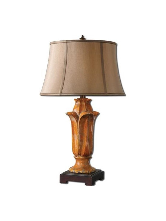 Uttermost Tulipano - Crackled orange ceramic with rust distressing and a gray wash. The round bell shade is silken copper bronze fabric with brown trim
