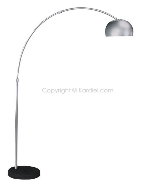 Kardiel - Kardiel Arco Style Floor Lamp, Black Marble Round Base - The Arco lamp was designed by Achille Castiglioni and Pier Giacomo Castiglionii for Flos in 1962. The Arco lamp is a floor lamp which provides direct light and satisfies the request of direct illumination without the need to fix it to the ceiling. Most rooms have the electrical output for a ceiling lamp right in the middle of the ceiling, but most dining tables are not placed in the middle of a room. Achille Castiglioni was unhappy because of the cable going from the output to the position where