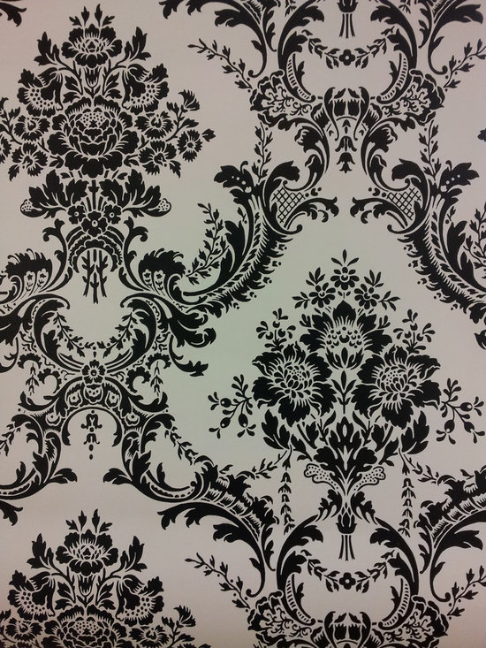 Wallcovering and Paint - A black and white damask wallpaper in stock!