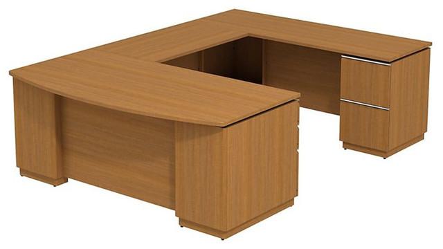 "Bush Milano 2 72"" Right-Hand U-Shape Desk in Golden Anigre transitional-desks"