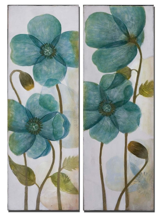 "Uttermost Set of 2 Aqua Shock Floral Art - Uttermost Set of 2 Aqua Shock Floral Art is frameless stretched canvas, high gloss on flowers. Dimensions: 36"" High, 12"" Wide."