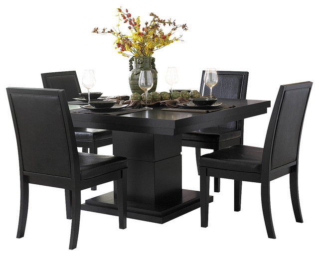 Homelegance cicero square pedestal dining table in black traditional dining tables by - Pedestal kitchen table set ...