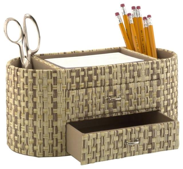 Kathy Ireland by Bush Desktop Organizer in Grass Weave-Natural transitional-desk-accessories